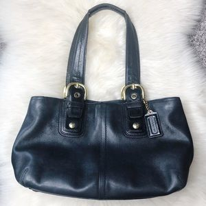 Coach Black All Leather Purse Handbag Tote Satchel